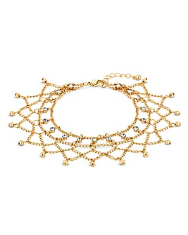 Mood Gold Plated Loop Diamante Anklet