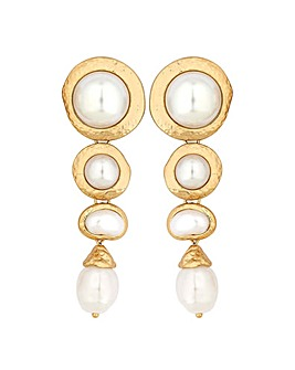 Mood Gold Plated White Baroque Earring