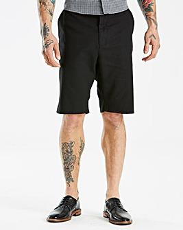 Black Linen Mix Slim Shorts