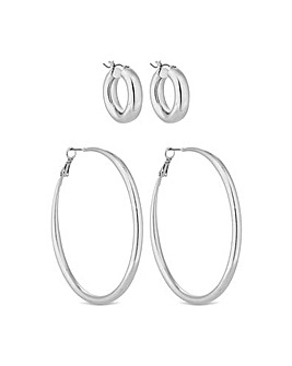 Lipsy Silver Plated Pack Of 2 Hoops