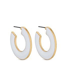 Lipsy White Enamel Hoop Earring