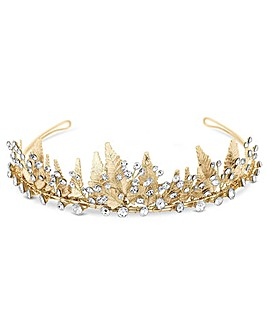 Jon Richard Gold Plated Leaf Tiara