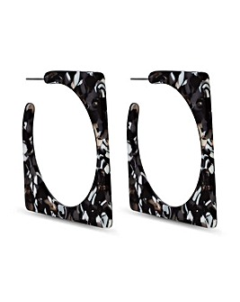 Mood Black Marble Resin Hoop Earring