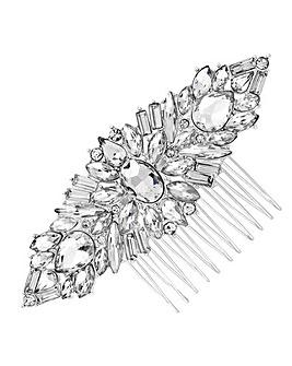 Jon Richard Silver Plated Clear Crystal Jennifer Hair Comb