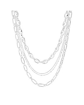 Mood Silver Plated Multirow Necklace