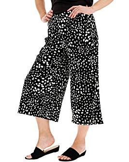 Spot Print Crepe Wide Leg Culottes