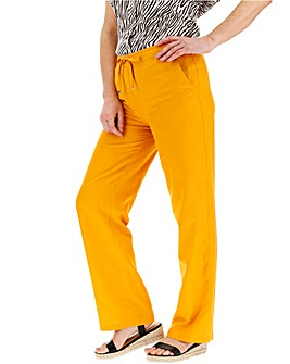 Easy Care Linen Mix Straight Trousers