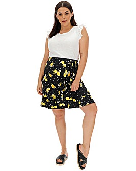 Print Mock Wrap Frill Trim Jersey Skirt