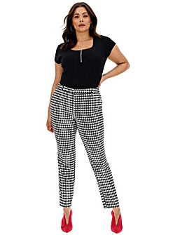 Houndstooth Tapered Leg Trousers Regular