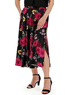 Floral Print Satin Prom Midi Skirt