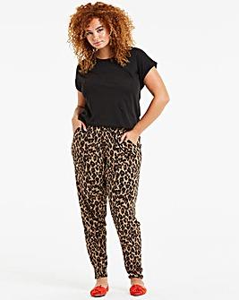 Leopard Print Tapered Trousers Regular
