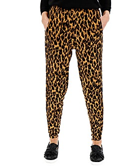 Leopard Print Tapered Trousers Regular