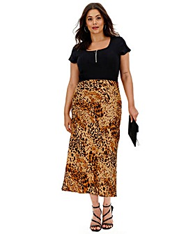Leopard Print Satin Column Midi Skirt