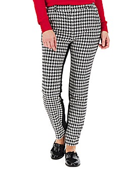 Houndstooth Ponte Back Tapered Trousers