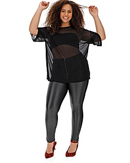 Wet Look Ponte Back Zip Front Leggings