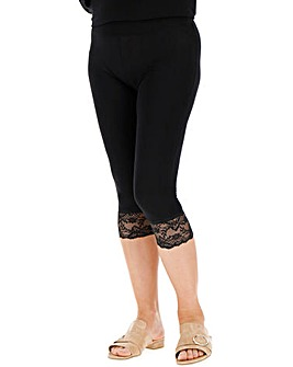 Crop Lace Trim Leggings