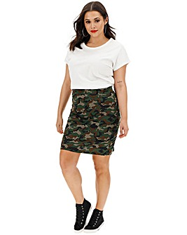 Camo Print Jersey Mini Tube Skirt