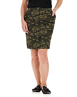 Cotton Rich Camo Print Chino Skirt
