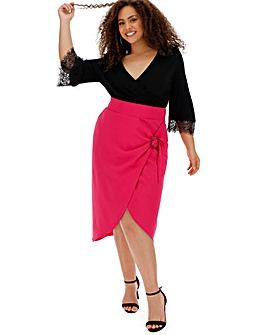 Buckle Trim Wrap Midi Skirt