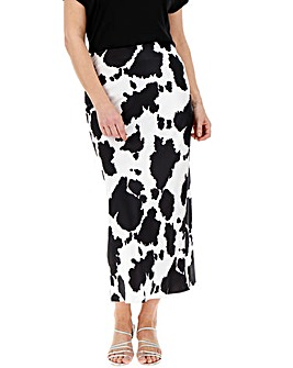 Cow Print Satin Column Midi Skirt
