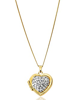 Crystal Glitz Gold Chunky Heart Locket