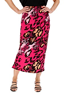 Snake Print Satin Column Midi Skirt