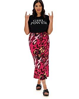 52234e3cbf2c Snake Print Satin Column Midi Skirt