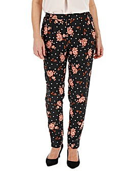 Floral Print Satin Tapered Trousers Regular