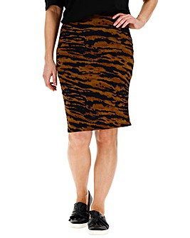 Tiger Print Jersey Mini Tube Skirt