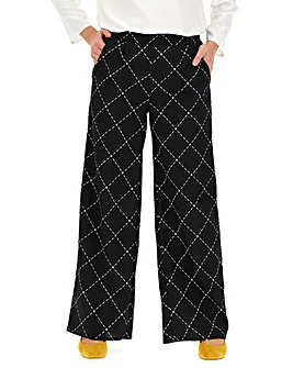 Mono Tile Print Crepe Wide Trousers Regular