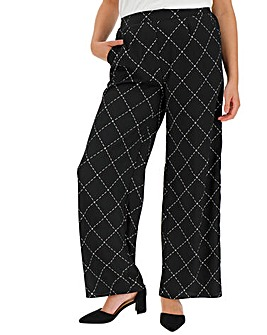 Mono Tile Print Crepe Wide Trousers