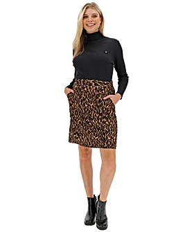 Leopard Print Crepe Mini Skirt