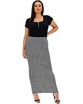 Houndstooth Check Jersey Maxi Tube Skirt