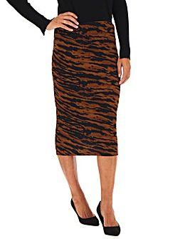 Tiger Print Jersey Midi Tube Skirt