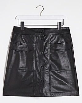 PU Stud Fastening Mini Skirt