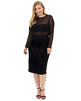 Glitter Velour Midi Pencil Skirt