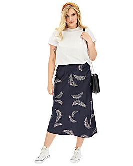 Feather Print Satin Column Maxi Skirt