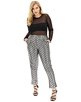 Print Satin Tapered Trousers
