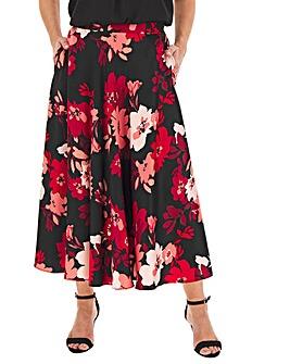 Floral Print Satin Prom Skirt