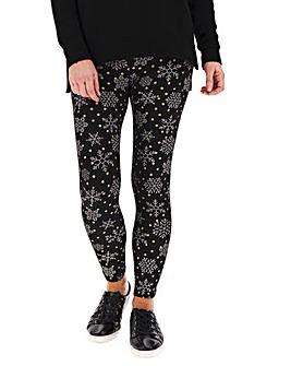 Novelty Snowflake Print Leggings Regular