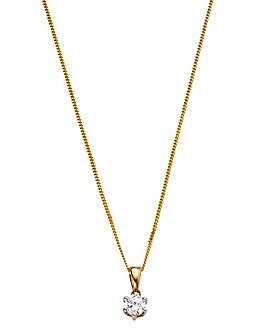 9 Carat Gold 1/4 Carat Diamond Solitaire Pendant