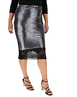 Lace Hem Sequin Pencil Skirt