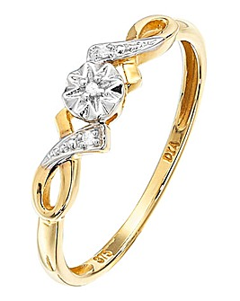 9 Carat Gold and Diamond Set Ring