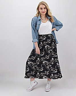 Marble Print Pleat Midi Skirt
