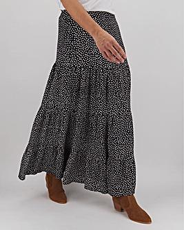 Star Print Tiered Maxi Skirt