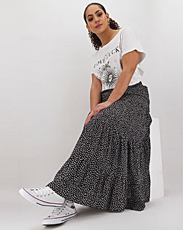 Star Print Tiered Maxi Skirt