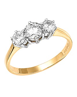 1 Carat Moissanite Trilogy Ring
