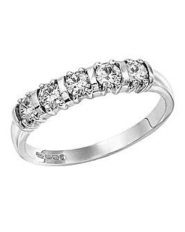 Moissanite 9 Carat Gold 1/2 Carat Half Eternity Ring