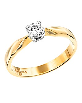 Moissanite 9 Carat Gold 1/4 Carat Solitaire Ring