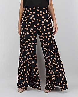 Spot Front Split Wide Leg Trousers